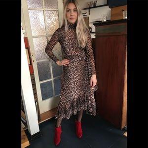 Gianni Tilden Leopard Mesh Ruffled Wrapped Skirt